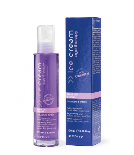 Inebrya Hair Lift Serum Collagene & Zaffiro Fluido Rigenerante Capelli Maturi, Porosi, Trattati 100ml