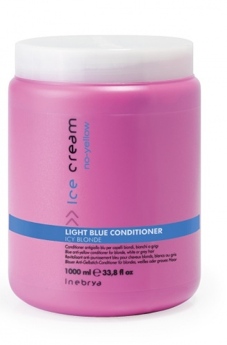 Inebrya Light Blue Conditioner Antigiallo Blu per Capelli Biondi, Bianchi o Grigi 1000ml