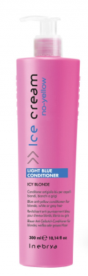 Inebrya Light Blue Conditioner Antigiallo Blu per Capelli Biondi, Bianchi o Grigi 300ml