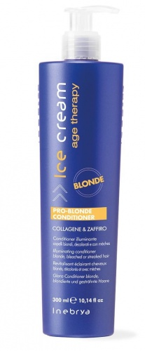 Inebrya Pro-Blonde Conditioner Collagene & Zaffiro Conditioner Illuminante Capelli Biondi, Decolorati e Con Mèches 300ml