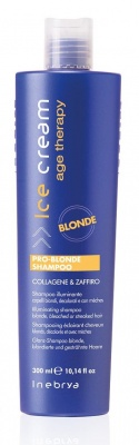 Inebrya Pro-Blonde Shampoo Collagene & Zaffiro Shampoo Illuminante Capelli Biondi, Decolorati e Con Mèches 300ml
